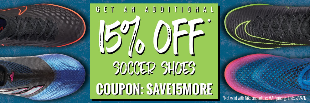 15% Off Soccer Shoes
