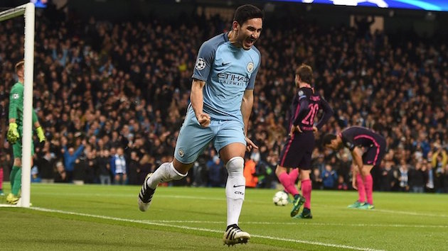 City's Gundogan scores vs. Barcelona