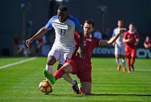 USA striker Jozy Altidore vs. Serbia