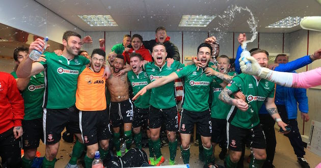 Lincoln City celebrates in FA Cup