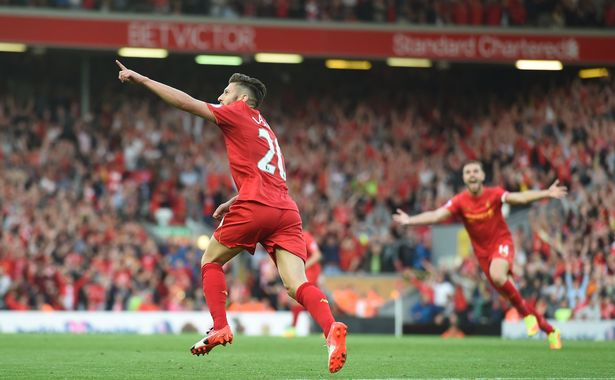 Adam Lallana scores for Liverpool
