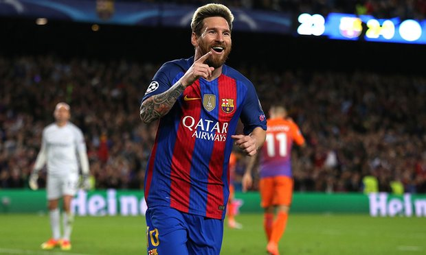 Leo Messi scores hat trick vs. City in Champs League