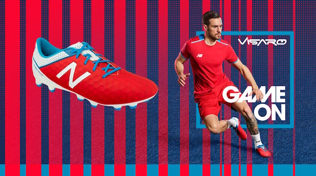 red New Balance Visaro with Aaron Ramsey