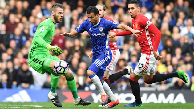 Pedro scores opener for Chelsea against United