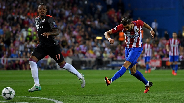 Atletico Madrid's Carrasco scores on Bayern Munich