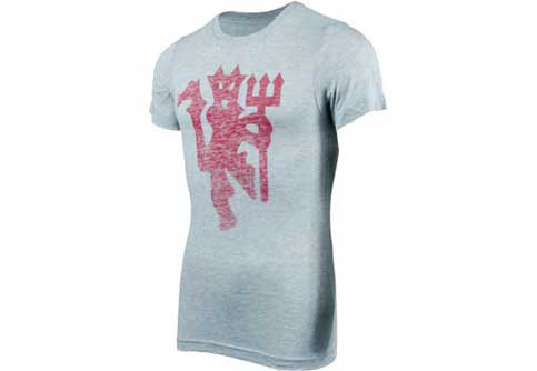 Nike Manchester United Covert Graphic Tee  Grey Heather with Red