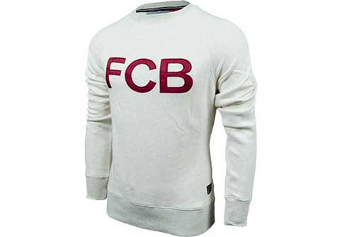 Nike Barcelona AW77 Covert Long Sleeve Crew  Oatmeal with Red
