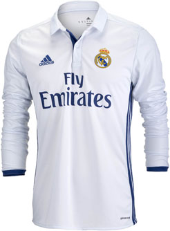 best service b145e 1b1f3 Long Sleeve Real Madrid Jersey - 2016/17 Real Madrid Home ...