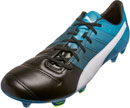 Puma evoPOWER 1.3 FG - Leather Soccer Cleats - Black & Atomic Blue