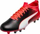 Puma Kids evoKnit FTB FG Soccer Cleats - Black & Fiery Coral