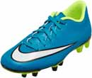 Nike Womens Mercurial Vortex II FG Soccer Cleats - Blue and White