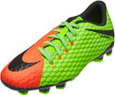 Nike Kids Hypervenom Phelon III FG - Electric Green & Hyper Orange
