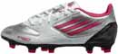 adidas Womens F10 TRX FG Soccer Cleats  Silver with Pink and Black
