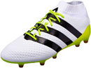 adidas Womens ACE 16.1 Primeknit FG/AG Soccer Cleats - White & Core Black