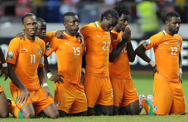 (From L to R) Ivory Coast captain Didier
