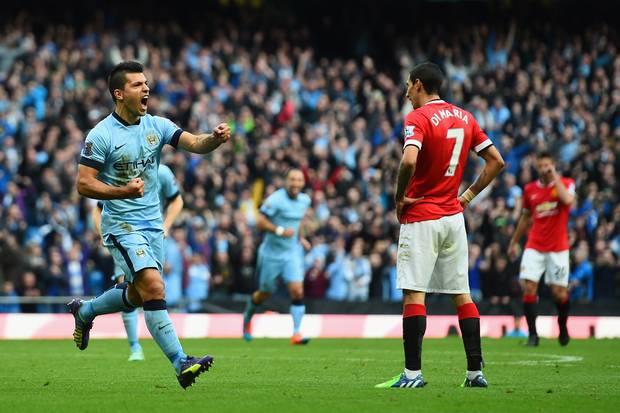 Sergio Aguero scores vs. United