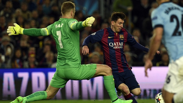 Hart making save on Messi in Champions League