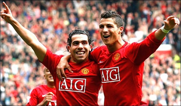 Ronaldo on Tevez on United