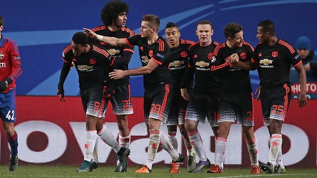 Manchester United scores in Champions League