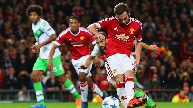 Mata scores for United vs. Wolfsburg