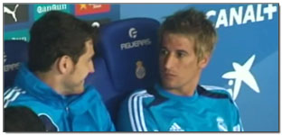 Fabio Coentrao Takes a Seat in the Dugout for Real Madrid Despite Not Being Selected, Hilarity Ensues…(Video)