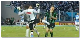 Belgrano Keeper Delivers Cleats to the Groin of San Martin Player…(Video)