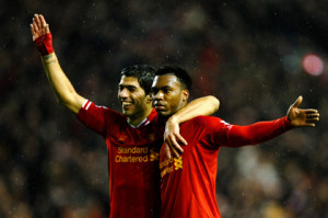 Sturridge and Suarez celebrate