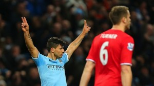 Aguero celebrates vs. Cardiff