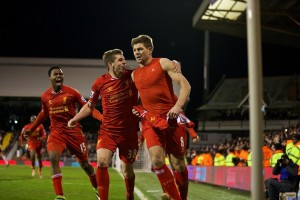 Gerrard celebrates vs. Fulham