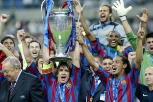 Puyol wins trophy with Barca