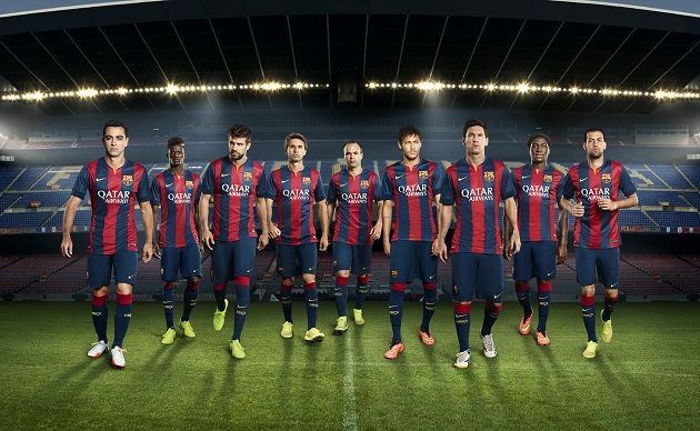Barcelona home kit team