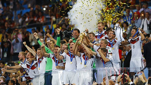 Germany lift World Cup trophy