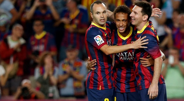 Messi, Neymar, and Iniesta