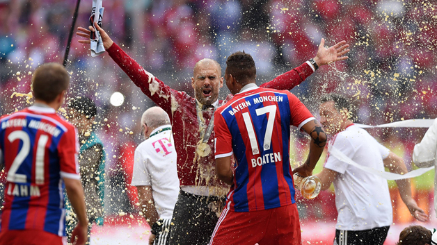 Guardiola beer shower