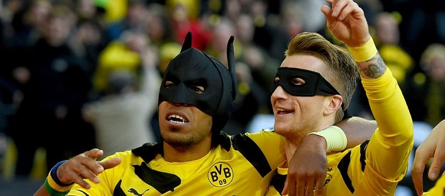 Reus and Aubameyang as Batman and Robin