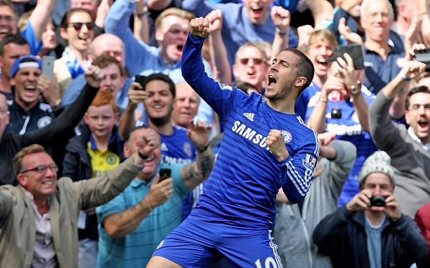 Hazard celebrates league-winning goal