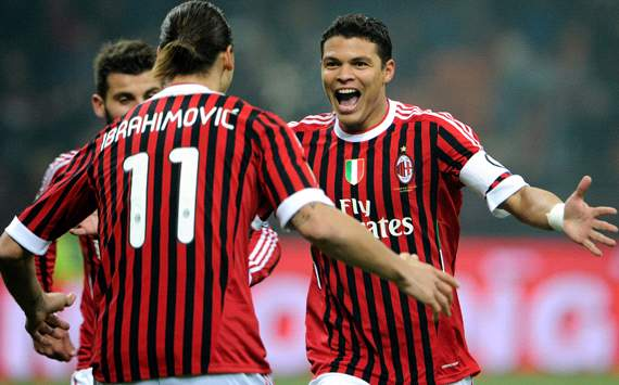 AC Milan teammates Zlatan and Silva