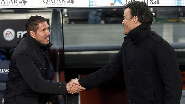 Diego Simeone and Luis Enrique shake hands