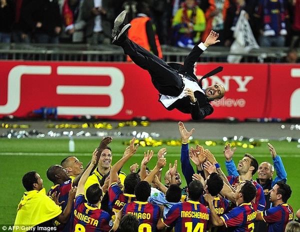 Pep celebrating with Barca