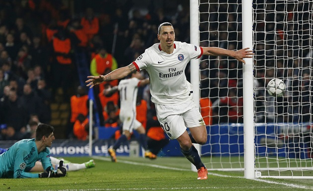 Zlatan scores vs. Chelsea