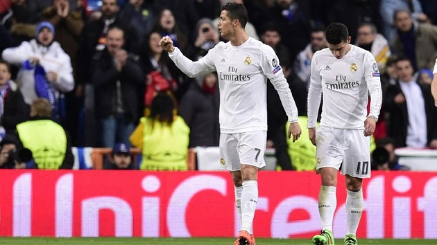 Ronaldo and James in Champions League