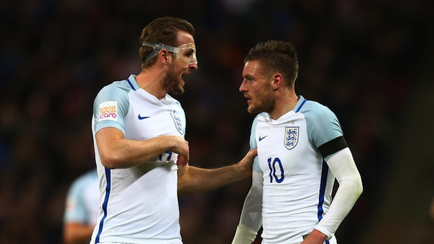 England's Harry Kane and Jamie Vardy