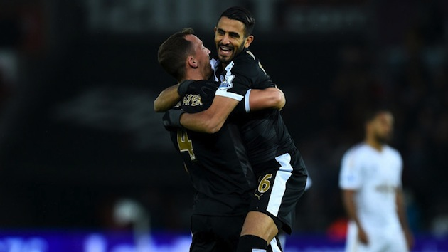 Mahrez and Drinkwater celebrate