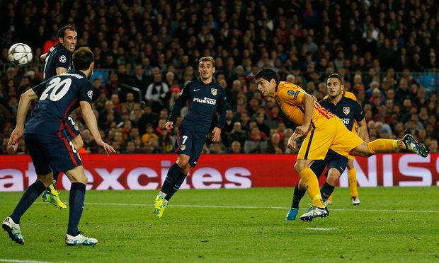 Barca's Luis Suarez scores in Champs League