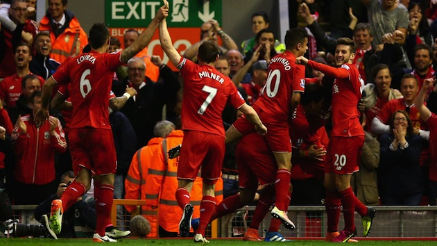 Liverpool celebrate goal in Merseyside Derby
