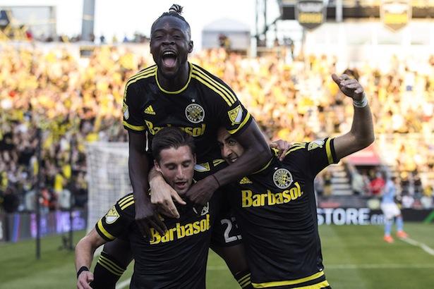 Crew celebrate score