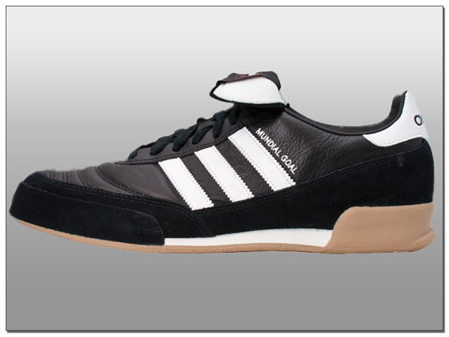Adidas Mundial Goal Indoor Soccer Shoes – Black with White – MSRP $94.99
