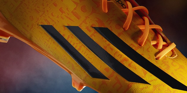 closeup of Messi adiZero