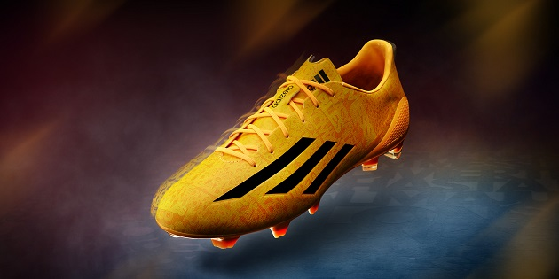 Messi's F50 adiZero in neon orange