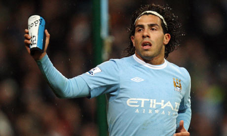 Carlos Tevez with shin guard